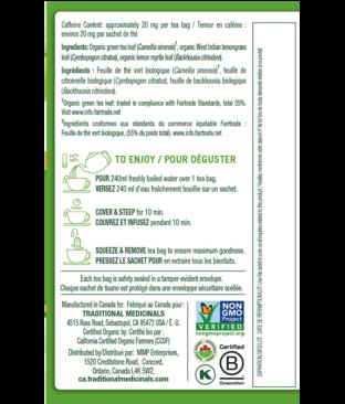 Organic Green Tea Lemongrass Ingredients & Info
