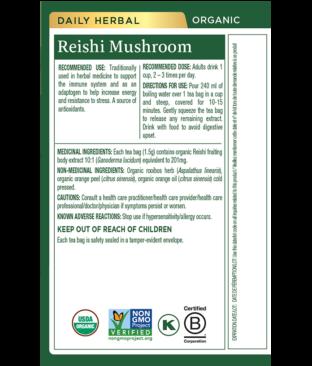 Organic Reishi Mushroom with Rooibos & Orange Peel Tea Ingredients & Info